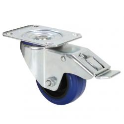 Rueda giratoria azul 80 mm con freno