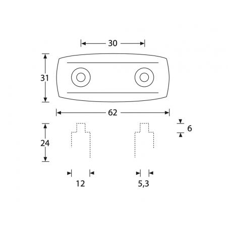 Taco de plastico 62 x 31 x 24 mm
